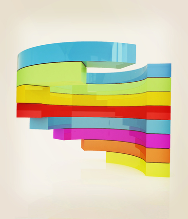 Abstract colorful structure. 3D illustration. Vintage style. Stock Photo