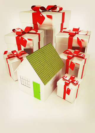 home owner: House and gifts. 3D illustration. Vintage style.