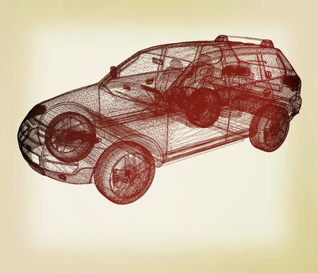 render 3d: Model cars. 3d render . 3D illustration. Vintage style.