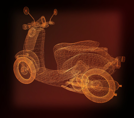 Vintage Retro Moped. 3d model. 3D illustration. Vintage style. Stock Photo