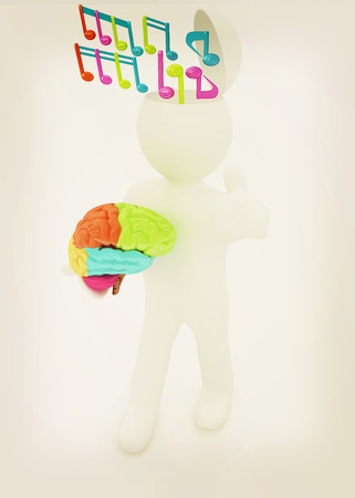 half note: 3d people - man with half head, brain and trumb up. ?omposer concept with colorfull note . 3D illustration. Vintage style.