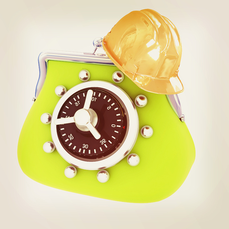 hard hat on purse safe. 3D illustration. Vintage style.