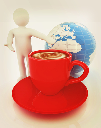 3d people - man, person presenting - Mug of coffee with milk. Global concept with Earth. 3D illustration. Vintage style.