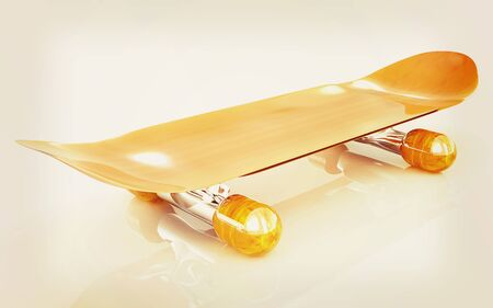 skateboard park: Skateboard on a white background. 3D illustration. Vintage style.