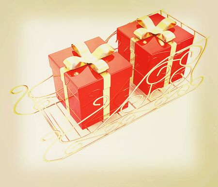 Christmas Santa sledge with gifts on a white background . 3D illustration. Vintage style. Stock Photo