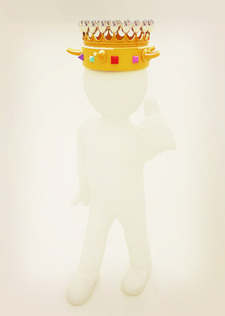 luxuriance: 3d people - man, person with a golden crown. King . 3D illustration. Vintage style. Stock Photo