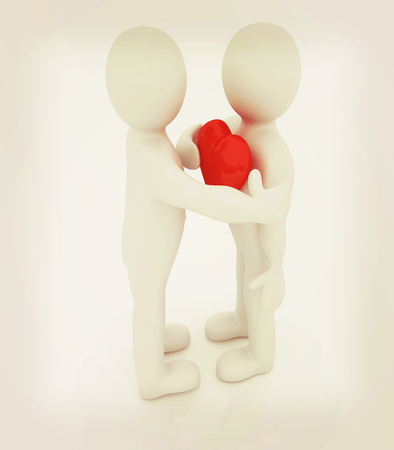 profile measurement: 3d mans holding his hand to his heart and 3d people hug . Concept: From the heart . 3D illustration. Vintage style. Stock Photo