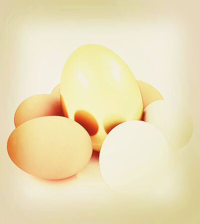 Eggs and gold easter egg. 3D illustration. Vintage style.