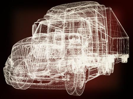 render 3d: Model cars trailer. 3d render . 3D illustration. Vintage style. Stock Photo