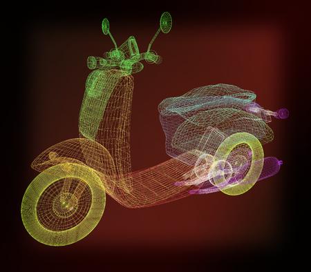 isolation: Vintage Retro Moped. 3d model. 3D illustration. Vintage style. Stock Photo