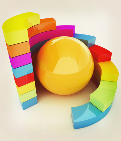 Abstract colorful structure with ball in the center . 3D illustration. Vintage style. Stock Photo