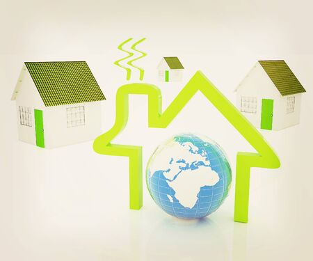 habitable: 3d green house, earth and icon house on white background . 3D illustration. Vintage style.