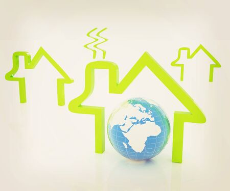 earth and icon house on white background . 3D illustration. Vintage style.