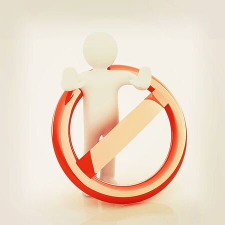 admittance: 3d person and stop sign . 3D illustration. Vintage style.