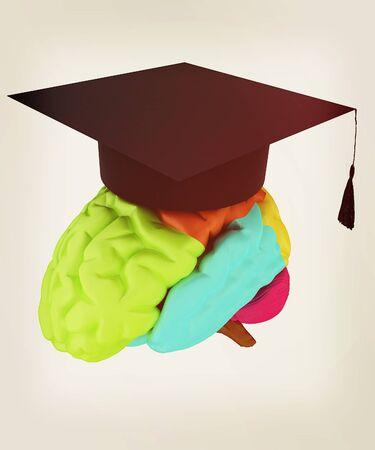 graduation hat on brain. 3D illustration. Vintage style.