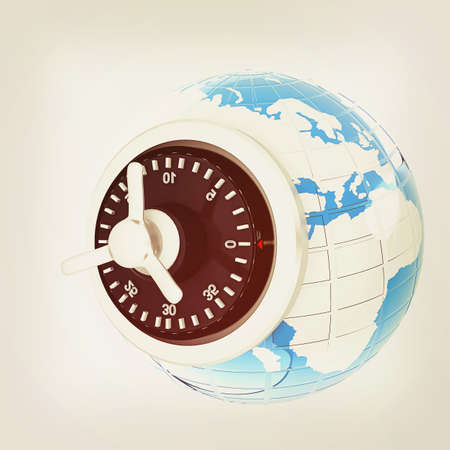 world security: World Security . 3D illustration. Vintage style. Stock Photo