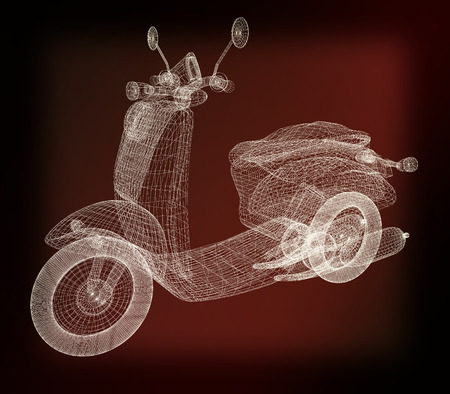 moped: Vintage Retro Moped. 3d model. 3D illustration. Vintage style. Stock Photo