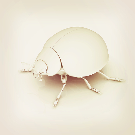 Metall beetle on a white background. 3D illustration. Vintage style.