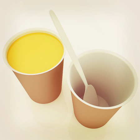 Orange juice in a fast food dishes. 3D illustration. Vintage style. Stock Photo