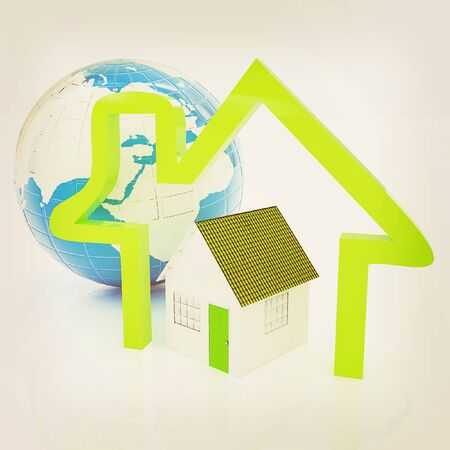 3d green house, earth and icon house on white background . 3D illustration. Vintage style.