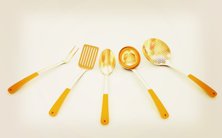cutlery on white background . 3D illustration. Vintage style. Stock Photo