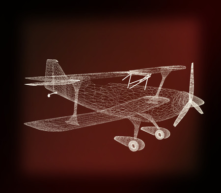 retro airplane isolated on black background . 3D illustration. Vintage style. Stock Photo