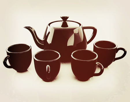 fervent: black teapot and cups. 3D illustration. Vintage style.