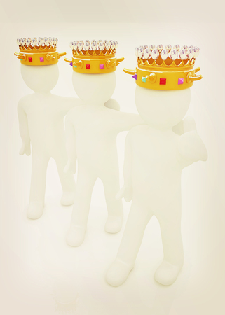 luxuriance: 3d people - mans, persons with a golden crown. Kings. 3D illustration. Vintage style.