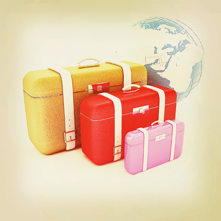 map case: Travelers suitcases. Family travel concept. 3D illustration. Vintage style. Stock Photo