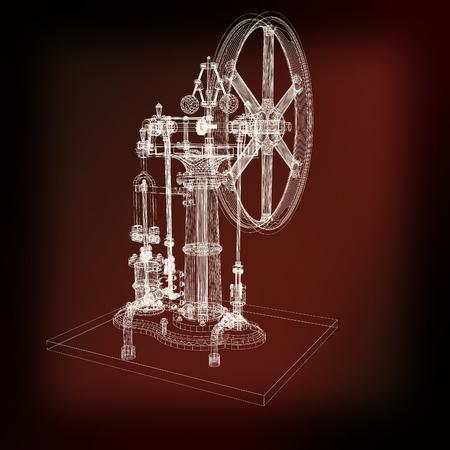 Perpetuum mobile. 3d render. 3D-afbeelding. Vintage-stijl.