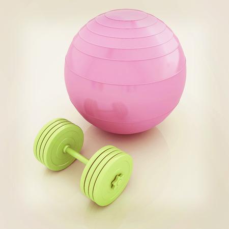 Fitness Ball und dumbell. 3D-Darstellung. Vintage-Stil.