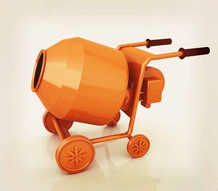 electrically: Concrete mixer. 3D illustration. Vintage style.