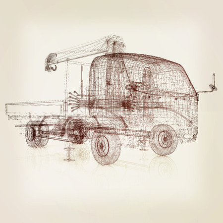 3 d モデルのトラック。3 D イラスト。ビンテージ スタイルです。 写真素材
