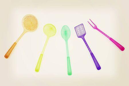 cutlery. 3D illustration. Vintage style. Stock Photo
