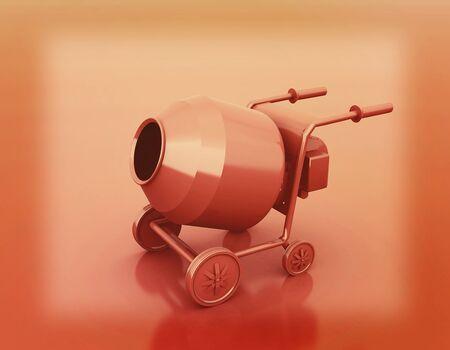 steel drum: Concrete mixer. 3D illustration. Vintage style.
