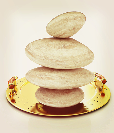 Spa stones on tray. 3D illustration. Vintage style.