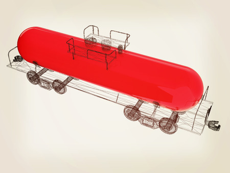 3D model cistern car. 3D illustration. Vintage style.