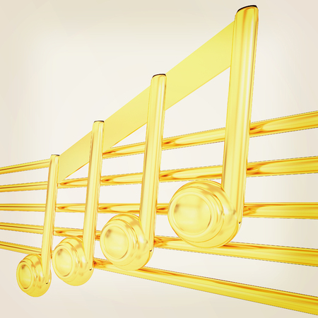 3D music note on staves. 3D illustration. Vintage style. Stock Photo