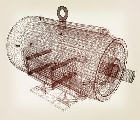 Modèle 3D d'un moteur électrique. illustration 3D. Style vintage.