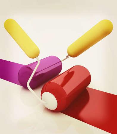 whitewash: 3d rollers brushes. 3D illustration. Vintage style.