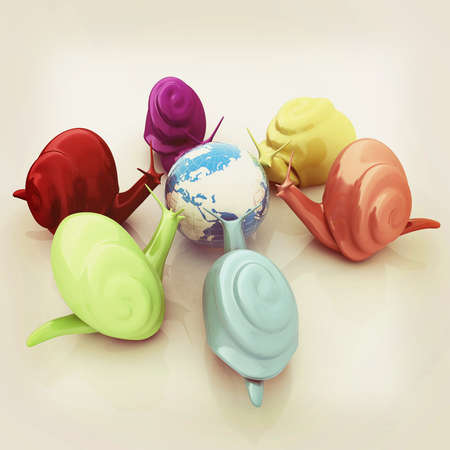 3d fantasy animals, snails and earth on white background . 3D illustration. Vintage style.