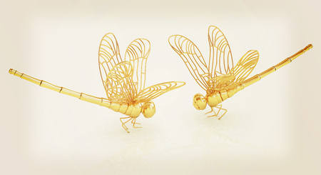 Dragonfly. 3D illustration. Vintage style.