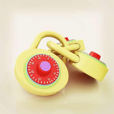 pad lock. 3D illustration. Vintage style.