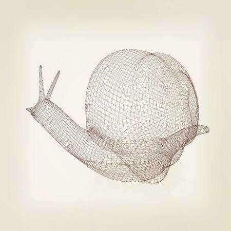 3d fantasy animal, snail on white background . 3D illustration. Vintage style.