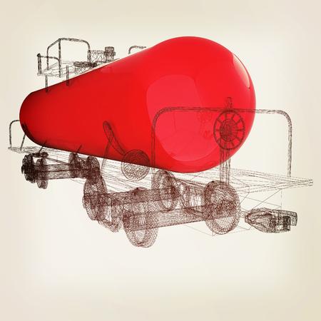 3D model cistern car. 3D illustration. Vintage style.