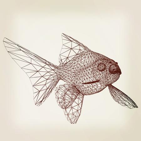 gill: Fish. 3D illustration. Vintage style. Stock Photo