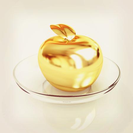 gilt: Gold apple on a plate. 3D illustration. Vintage style.