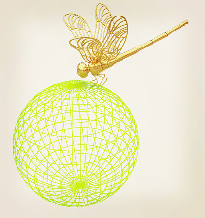 Dragonfly on abstract design sphere. 3D illustration. Vintage style.