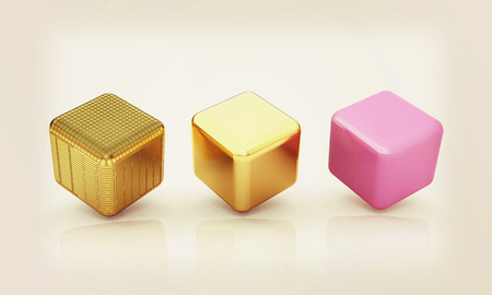 set of all metal cubes of gold, black gold, pink plastic. 3D illustration. Vintage style. Stock Photo