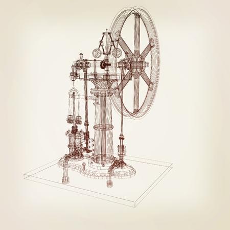 render 3d: Perpetuum mobile. 3d render. 3D illustration. Vintage style.